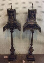 Set Of 2 Vintage Tall Black Pagoda Toleware Buffet Lamps 4ft Tall