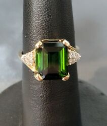 14ky 3ct Tourmaline And .20ptw Diamond Ring Si1/g Size 6.75 P5
