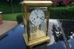 Stunning Large Four Glass Mantel Carriage Clock Made By Angelus
