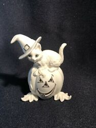 Lenox Once Upon A Pumpkin Kitty Cat Halloween Witch Porcelain Figurine