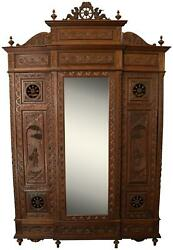 Armoire Brittany Heavily Carved Antique French 1890 Chestnut Wood Mirror
