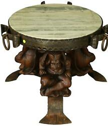Vintage Accent Table Carved Courtiers Renaissance Fish Tail Feet Green Marble