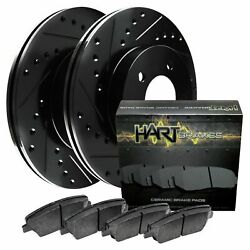 [front Kit] Black Hart Drilled And Slotted Disc Brake Rotors +ceramic Pads F2546