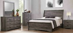 Contemporary 4pc Queen Curved Hb Fb Bed Dresser Mirror Ns Set Grey Finish New