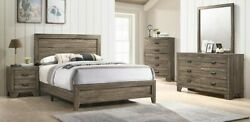 Contemporary 4pc Full Size Recessed Hb Fb Bed Dresser Mirror Ns Set Grey Finish