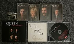 Queen Greatest Hits Cd, Collectors Cassette Set And Badge Bundle Signed