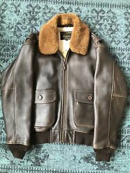 Schott Military Style Antique Lambskin Leather Bomber Jacket 233 Large Brown