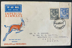 1932 Broken Hill N Rhodesia First Flight Cover To Cairo Egypt 43 Flown Imperial