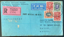 1932 Bulawayo Southern Rhodesia First Flight Cover To Cairo Egypt Imperial Airwa