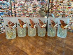 Vintage Hand Painted Pheasant Bird Frosted Drinking Glasses Tumblers