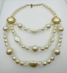 Yves Saint Laurent Ysl Vintage Gold Plated Faux Pearl And Lucite Beaded Necklace