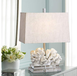 Coral Sculpture White Nautical Coastal Table Lamp W Shade Crystal Base Horchow