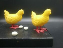 Vintage Plastic Egg-laying Hens
