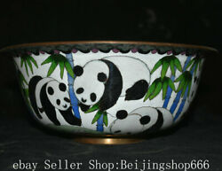 10.4 Rare Marked Old Chinese Copper Cloisonne Dynasty Panda Bamboo Bowl Bowls