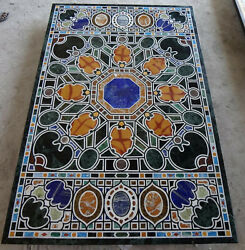5'x3' Antique Green Marble Center Dining Table Top Inlay Lapis Malachite Hr