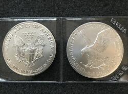 20 - Both 2021 American Silver Eagles Type 1 And 2 Bu 2 Troy Oz. Excellent