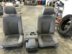 2011-2014 Ford F150 Front Light Grey Seat Set Cloth Dvr/pass Console Pwr