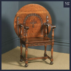 Antique English George V Carved Oak Monks Seat Arm Chair Table Circa 1910