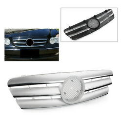 Silver Front Grill Sports Grille Fit For Mercedes Benz C Class W203 2000-2006 01