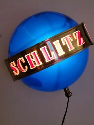 Schlitz Beer Sign 1964 Motion Globe Spinning Wall Sconce Light Working Sign
