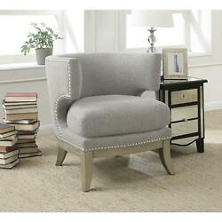 Coaster Accent Chair With Barrel Back Yellow And Weathered Grey