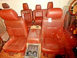 11-16 Ford F250 F350 King Ranch Leather Brown Seat Set W/console Heat Power