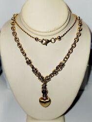 14ky Rope/cable Chain With Black Onyx Stone Cabochons Length 31d88