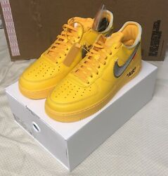 Nike Air Force 1 Low Off-white University Gold Metallic Silver Size 11 Ds