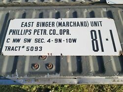 Philllips Petroleum Company Gas Oil Field Well Lease Porcelain Sign
