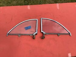 1949 1950 1951 Ford Convertible 1/4 Windows. Frames And Glass Original Pair.