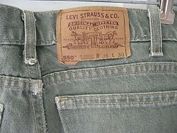 Vintage Levi Strauss 550 Green Cotton Jeans Relaxed Fit Original Riveted-36w 30l