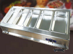 Commercial Electric Five Full Size Pan Bain-marie Buffet Food Warmer 110v 1800w