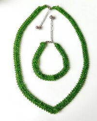 Natural Chrome Diopside Beads Necklace And Bracelet Combo With Silver Closure