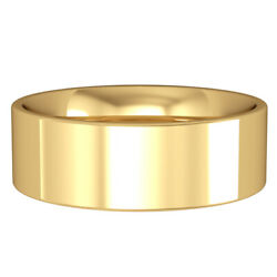 Jewelco London 9ct Yellow Gold 7mm Flat-court Wedding Band Commitment Ring