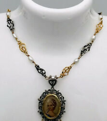 """Estate Antique 18kt Yellow Gold/sterling Silver Natural Pearls Necklace 15.5"""""""