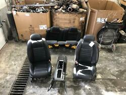 2009-2014 Ford Mustang Front Rear Seat Blk Leather Electric