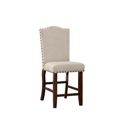 Benzara Rubber Wood High Chair With Studded Trim, Cream And Cherry Brown, Set Of 2