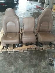 1999-2005 Ford F250 Superduty Seat Set Tan Leather Pwr Driver Passenger
