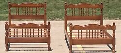 Tell City Twin Beds Matching Pair Complete Sets Vintage Traditional Colonial