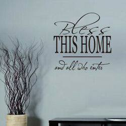 Wall Stickers PVC Decal Mural quot;Bless This Homequot; Art Words Home Decor