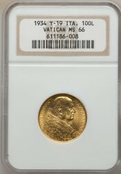 Vatican City 1933-34 100 Lire Gold Coin Choice Uncirculated Certified Ngc Ms66