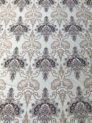 Vtg Travers Heavy Fabric Brindisi Paisley Gray Beige Brown Four Yards Decorator