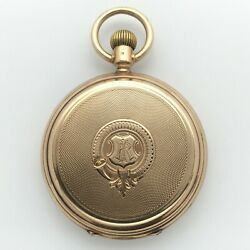 Antique 1880and039s Swiss Grosjean Freres Pocket Watch 14k Solid Gold