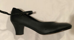 Theatricals T3200 Black Character Dance Theatre Heels Leather Sole 8.5M EUC