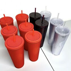 Starbucks 2020 Studded And Grid Tumblers. Limited Edition Red Lot Of 11