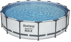 Bestway 56687e Pro Max Above Ground 15ft X 42in Steel Frame Round Pool Set Gray