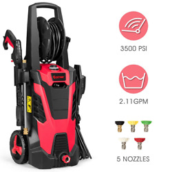 3500 Psi Electric High Pressure Power Washer Machine W/ Hose Reel And 5 Nozzles