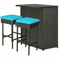 3pcs Patio Rattan Wicker Bar Table Stools Dining Set-turquoise - Color Turquoi