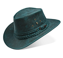 Cowboy Hat Western Genuine Leather For Mens And Womens Vintage Blue Australian
