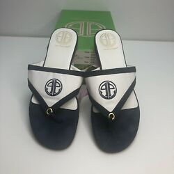 Lilly Pulitzer Womens 9 Via Shopping Flip Flop 65860 Navy Blue White